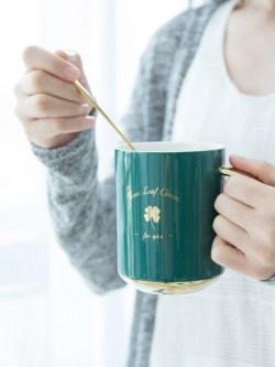 UP STYLE/悠家良品 陶瓷马克杯,带盖带勺咖啡杯简约文艺
