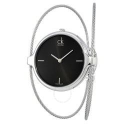 Calvin Klein Agile Black Dial Ladies Bangle Watch K2Z2M111