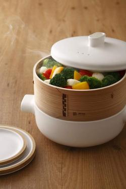 JIA Inc. Ceramic Steamer Set And Cedar Wood Basket