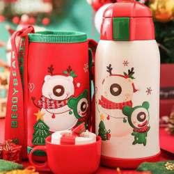 BEDDYBEAR杯具熊3D版限量圣诞款儿童保温杯,带吸管316不锈钢双盖两用儿童保温水壶630ML