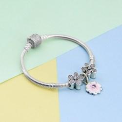 Pandora潘多拉925银手链,银色樱花草手链串珠,粉色木兰花吊坠