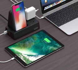 COZOO Qi Wireless Charger Stand with 3-Port USB Charging Station Organizer Dock and 2 Outlets Po ...