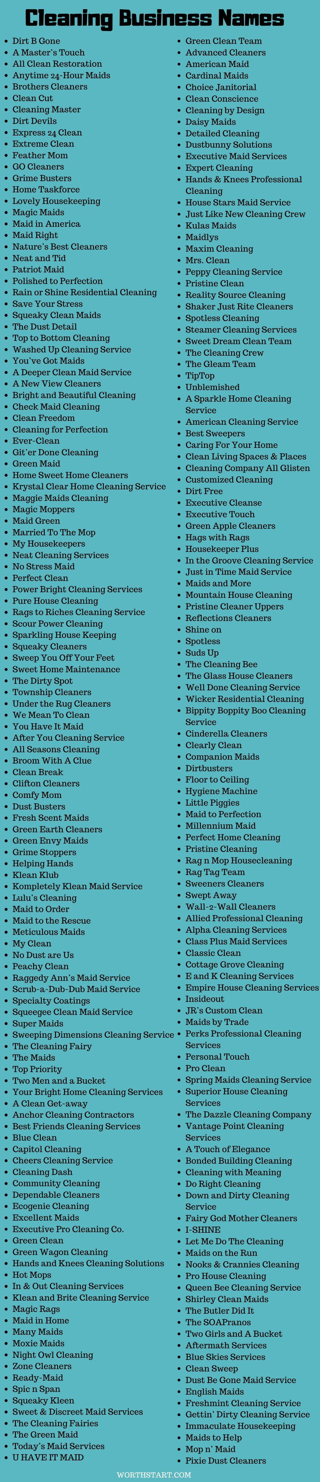 Cleaning Business Names 400 Best Cleaning Company Names