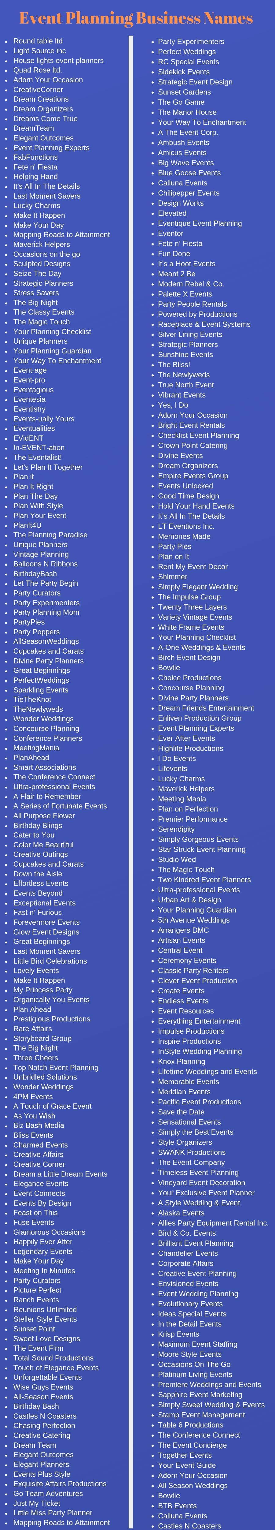 400 Event Planning Business Names Ideas And Suggestions
