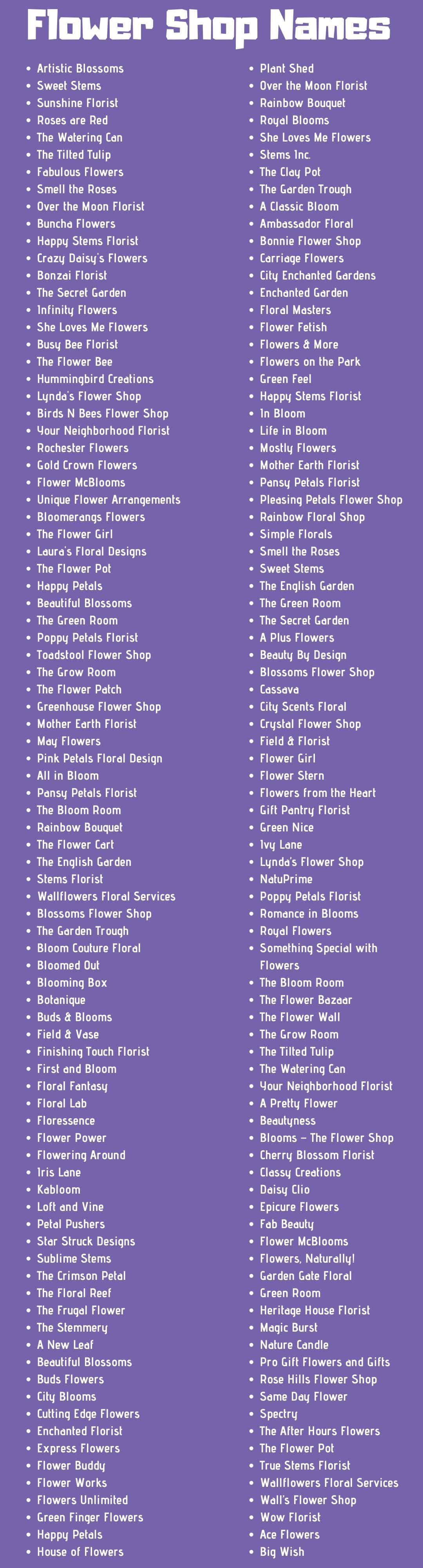 473 Flower Shop Names Ideas And Suggestions