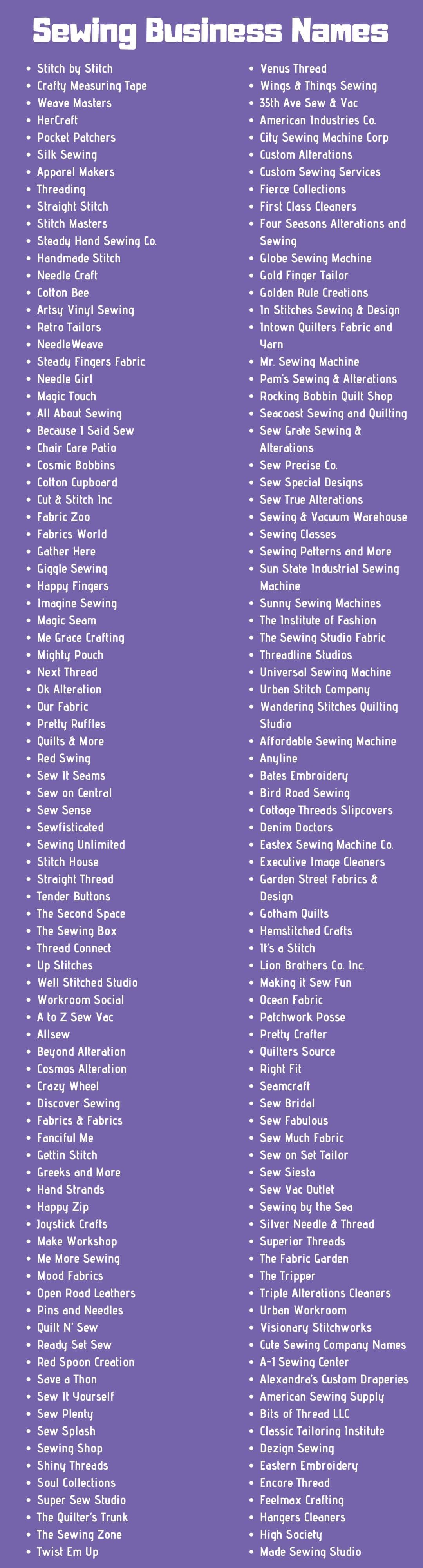 370 Most Creative Sewing Business Names And Ideas