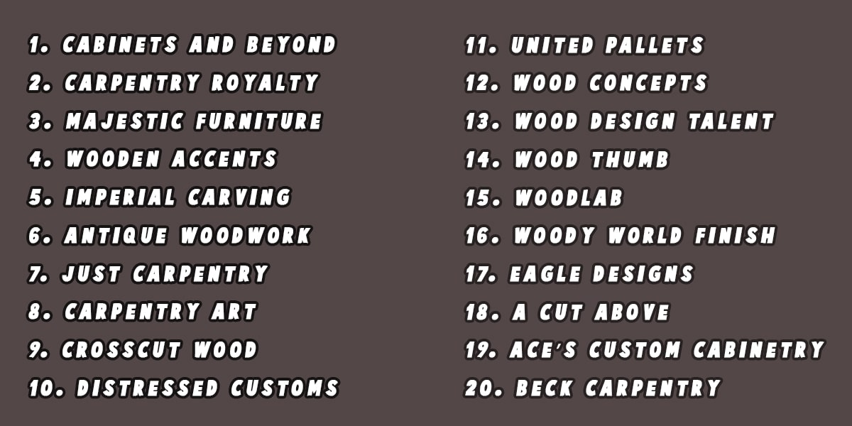 Great Woodworking Names - 4 betting tips
