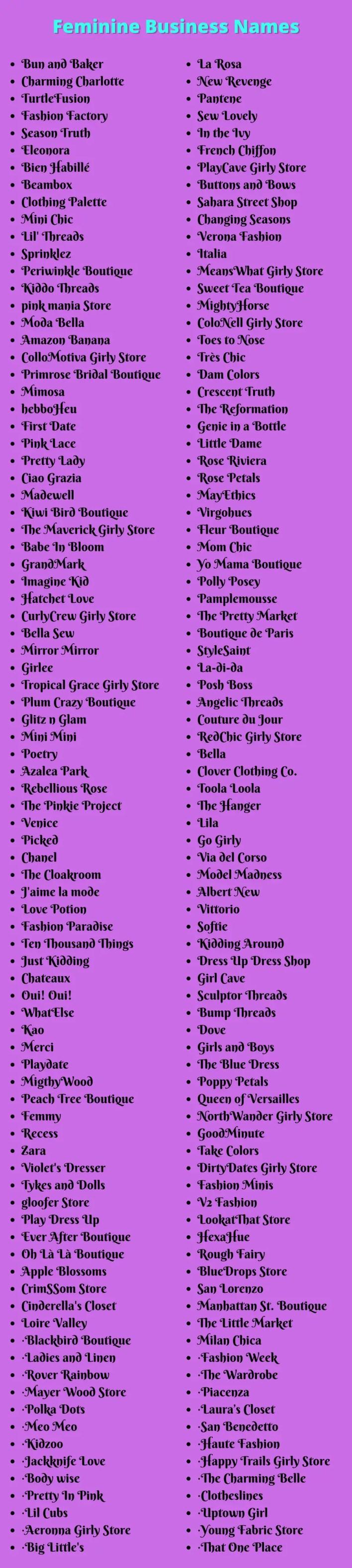 Feminine Business Names