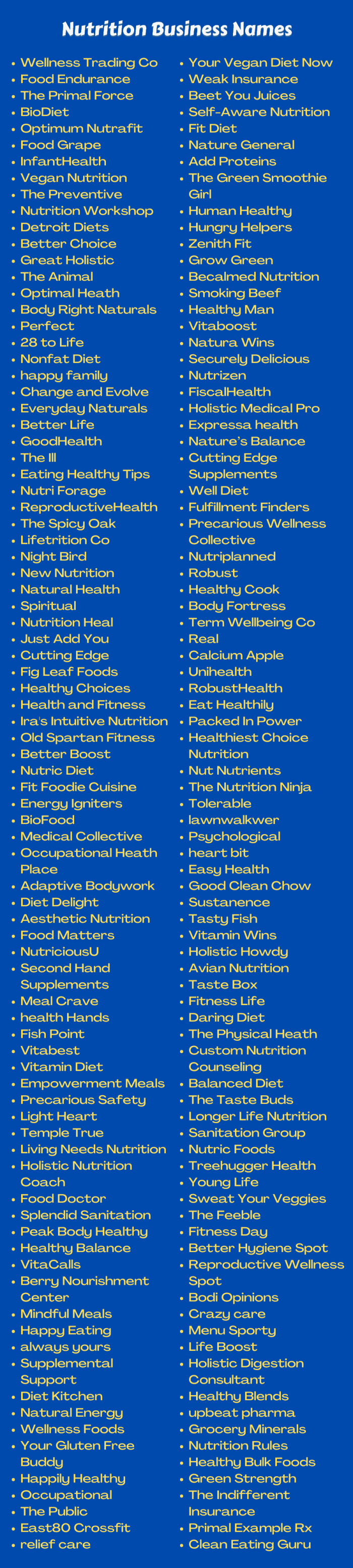 Nutrition Business Names