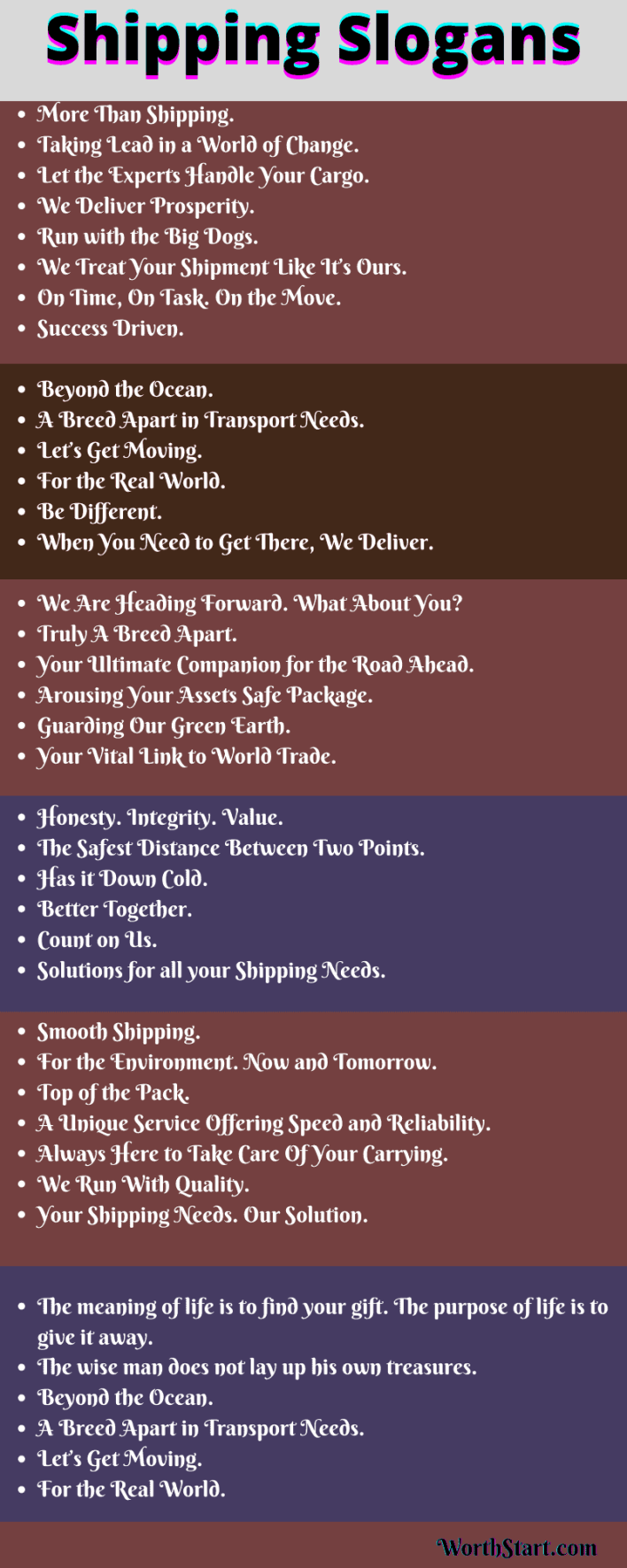Shipping Slogans