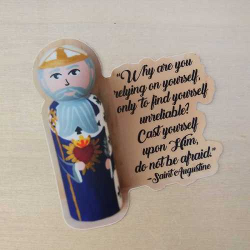 cast yourself upon him sticker on wood