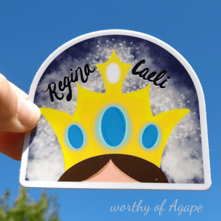 Regina Caeli sticker on blue sky