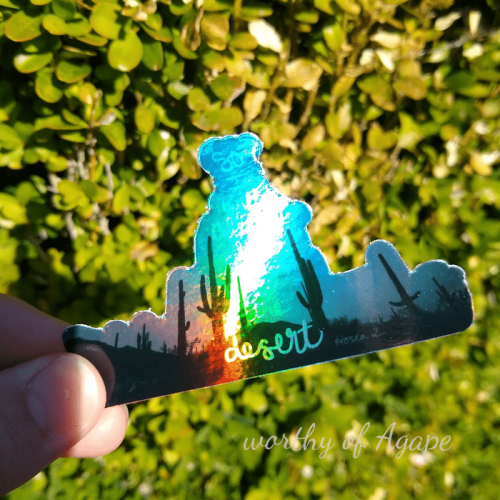 to the desert sticker holographic on leaves