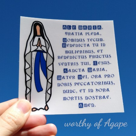 Ave Maria sticker on blue sky