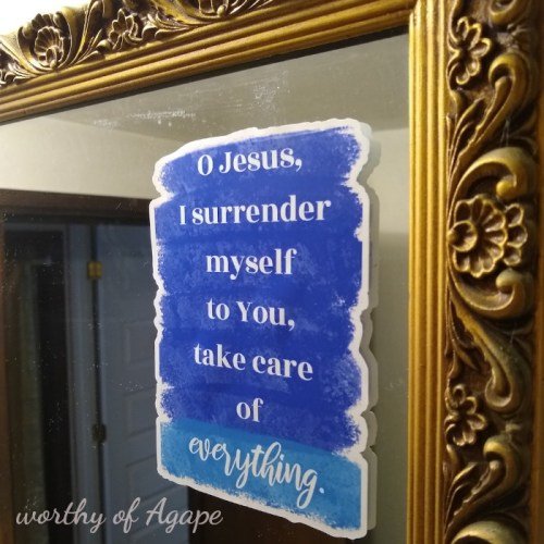 Surrender prayer cling new on mirror