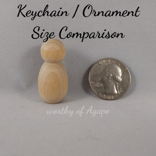 keychain ornament size comparison blank peg