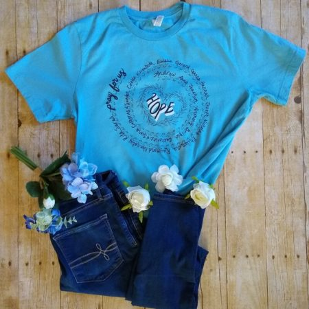 hope infertility awareness blue flatlay with flowers