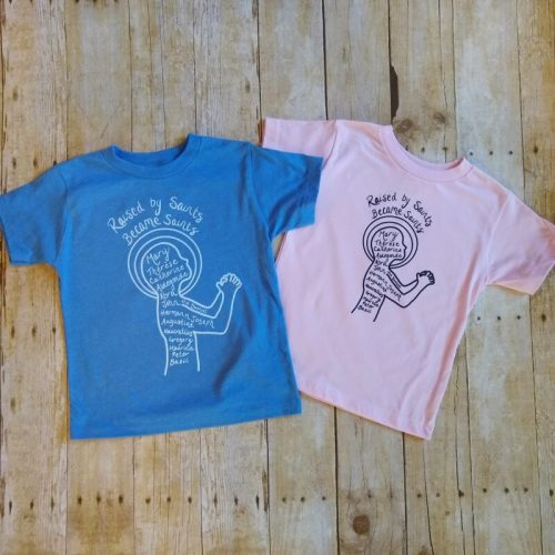 raised by saints toddler tees side by side