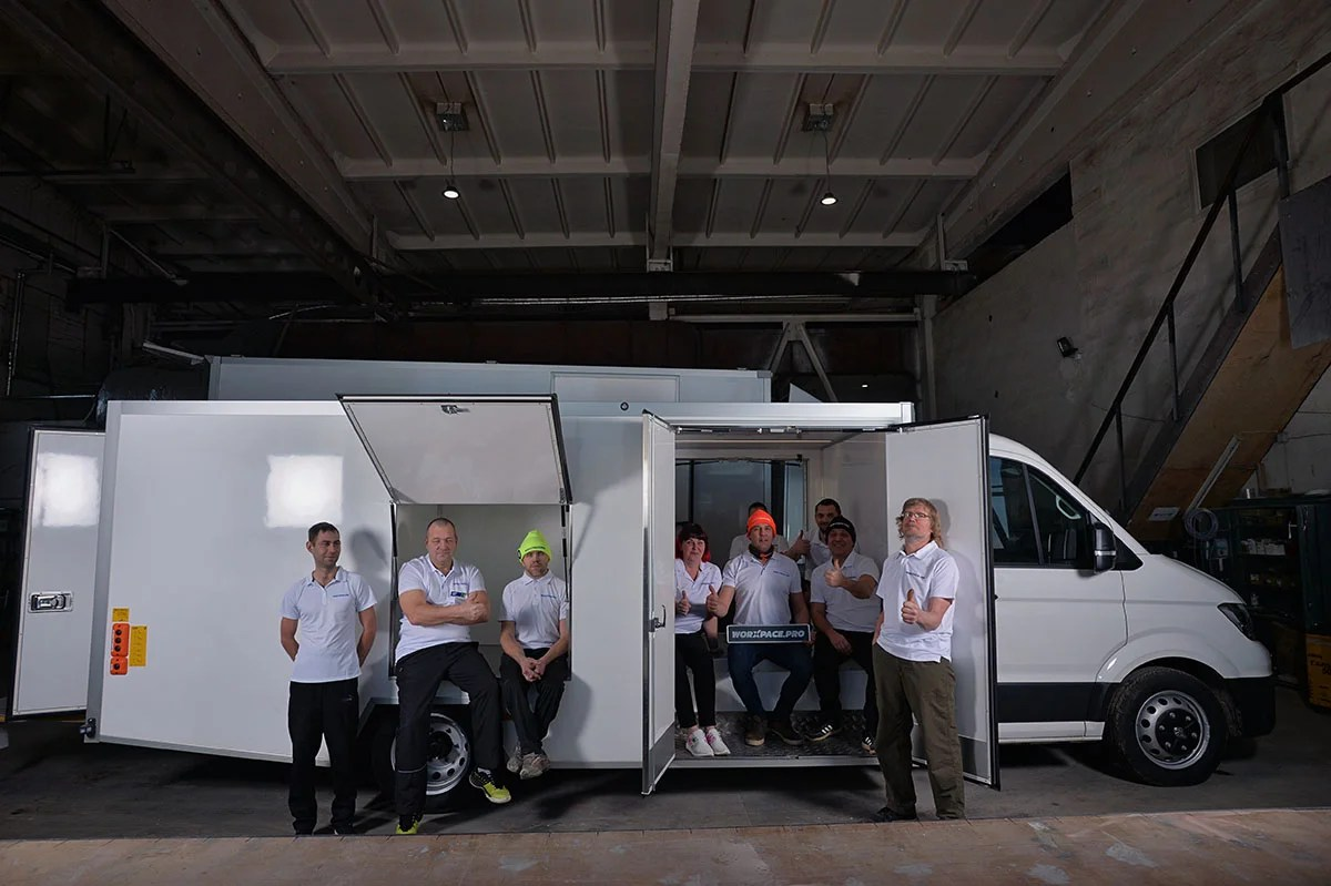 Contact Worxpace PRO whose team is pictured with this service truck