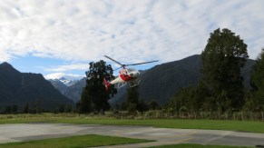 Iggy's helicopter ride. Fox Glacier is in the background.