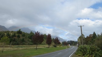 The full arc of a rainbow seen just outside our rented cabin in Glenorchy.