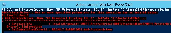 error then installing print driver with powershell