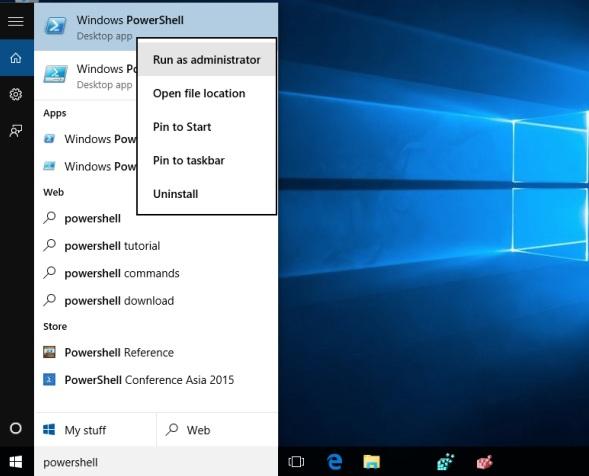 Powershell run as admin - Windows 10