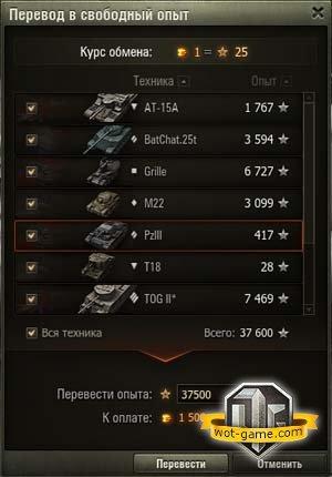 Что такое свободный опыт в World of Tanks? Как получить, перевести