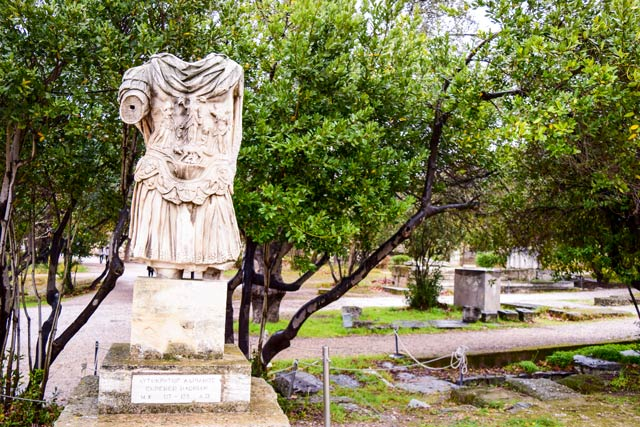 Athens in winter statue