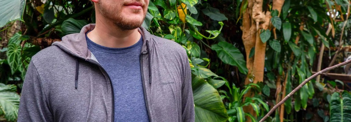 Man wearing Craghoppers Nosilife clothes in jungle rainforest