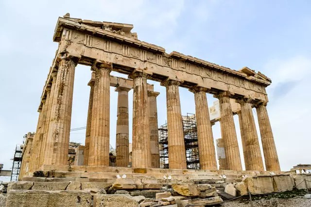 close up of Parthenon in Athens with blue sky