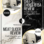 Chef's choice 615A meat slicer review with two images on white black and gold background
