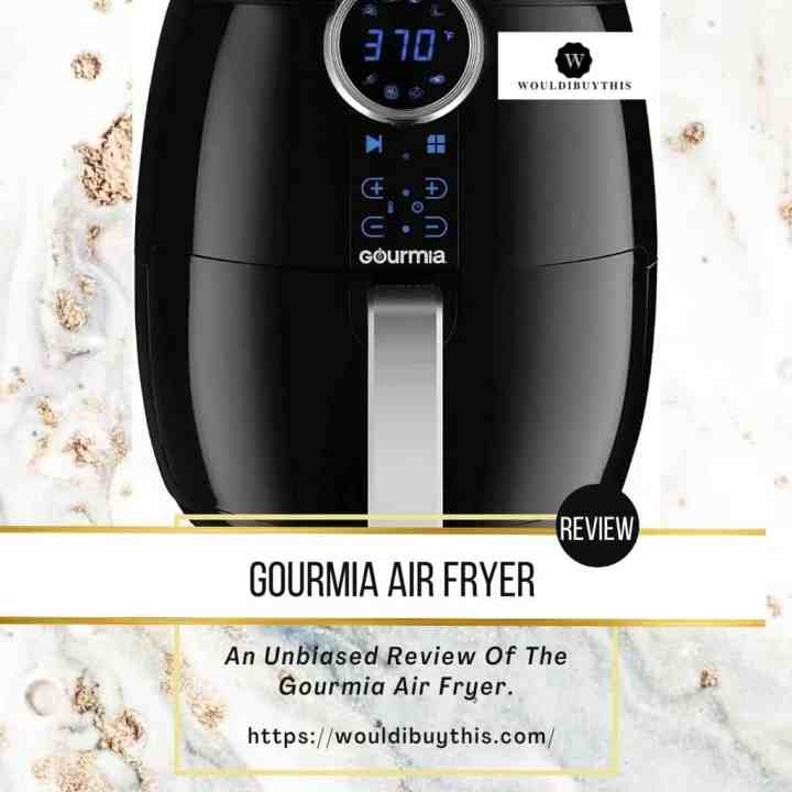 Image of Gourmia Air Fryer over a white and gold marble background.