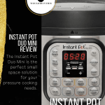 Instant pot duo mini review with black sidebar and text