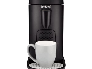 Image of the Instant Pod with a white mug sitting on the base of the coffee maker