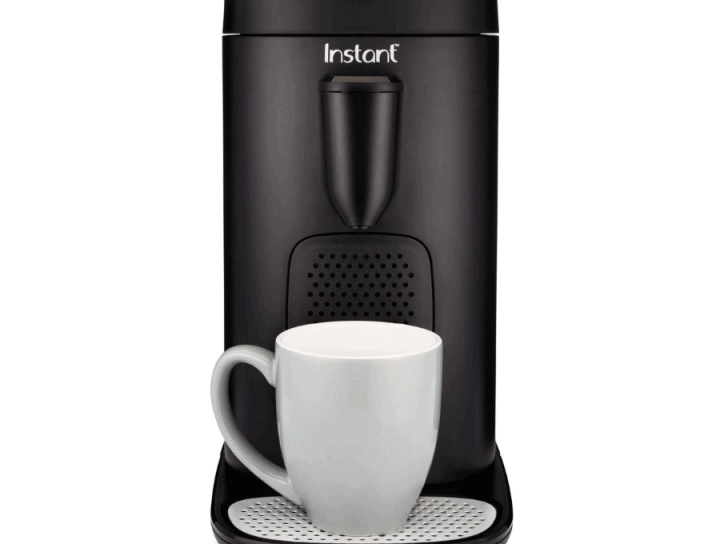Image of the Instant Pod with a white coffee mug sitting on the base of the machine.