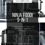 Ninja Foodi 9-in-1 image with text and four pictures in background