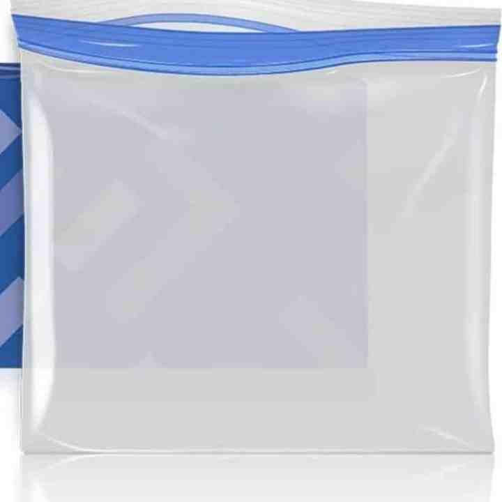 Close up image of freezer safe gallon bags