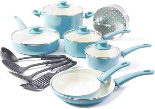 greenLife soft grip ceramic non-stick induction cookware set