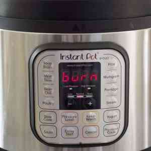 Instant Pot displaying a Burn message