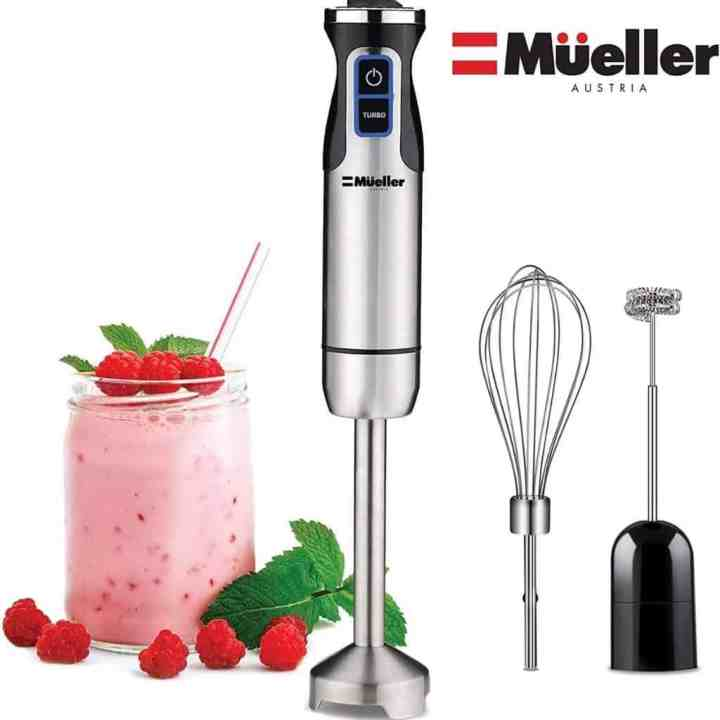 meuller immersion blender with accessories shown