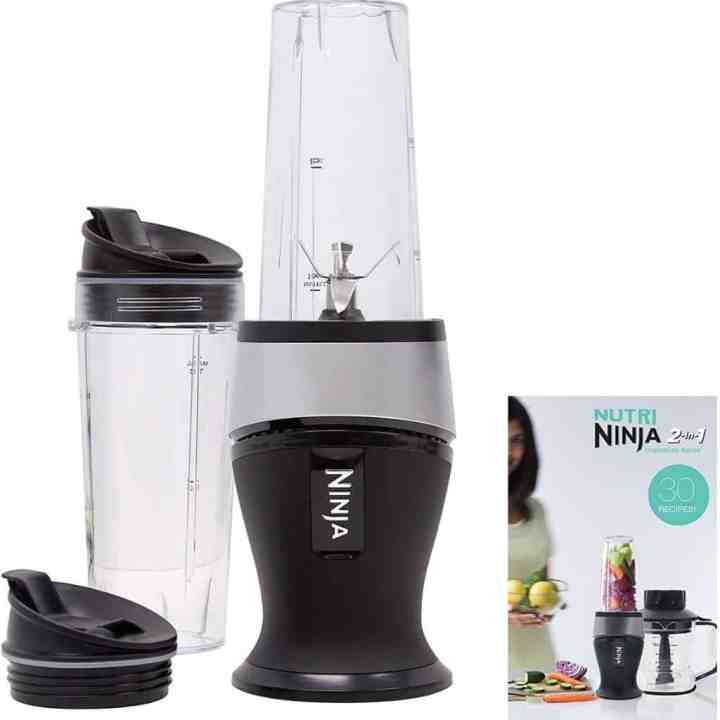 ninja personal blender with attachments against a white background