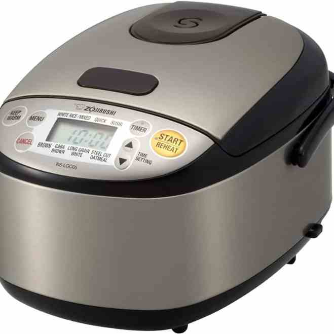 zojirushi small rice cooker against a white background