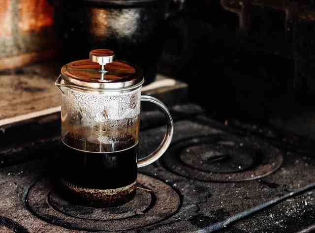 french press on coil stove