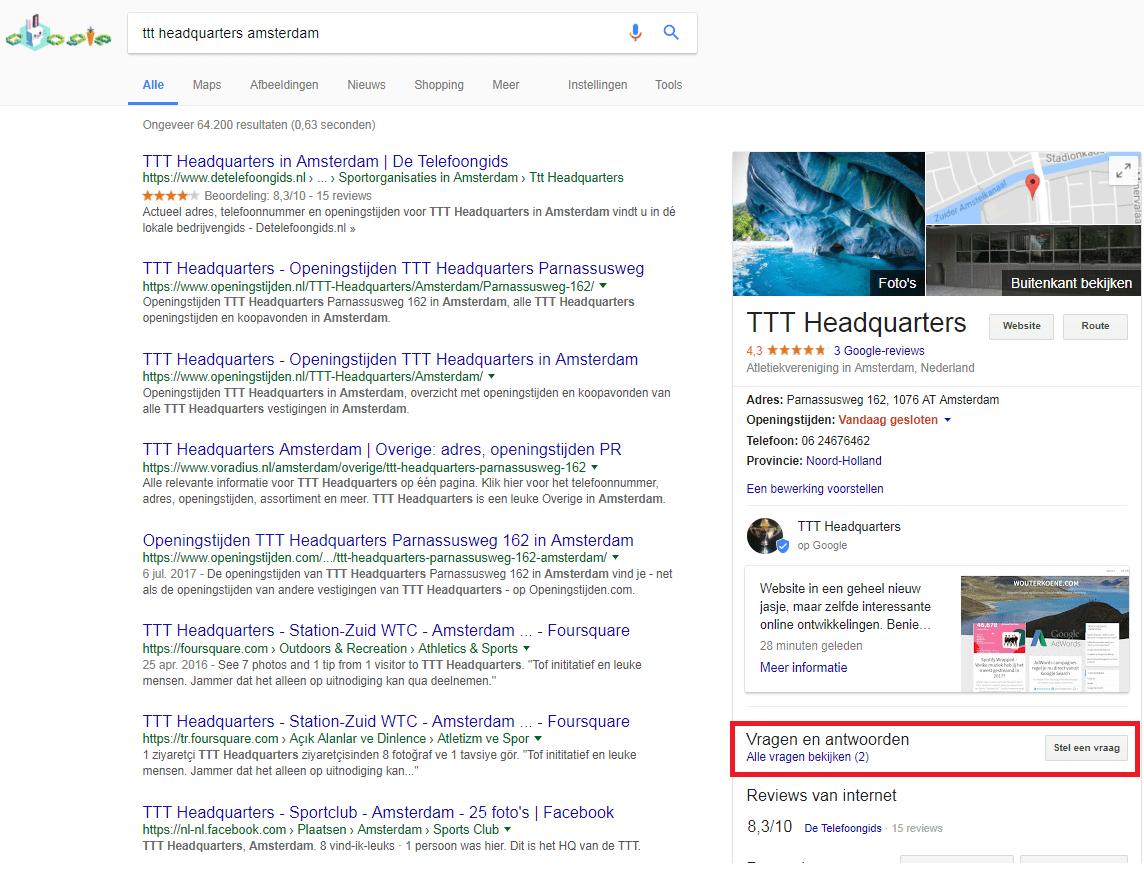 Google Vraag & Antwoord