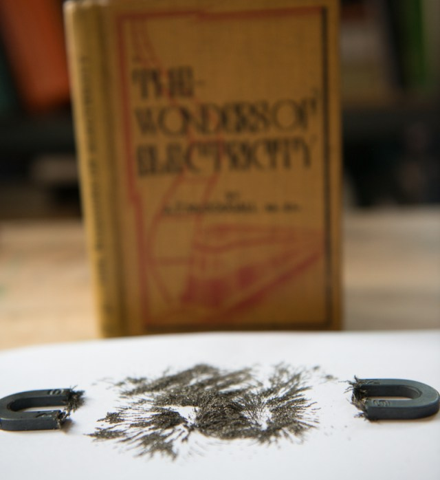 The wonders of electricity, published in 1935, pictured with iron filings + magnets experiment