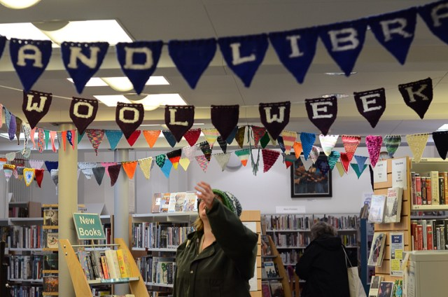 Shetland Library covered in knitted bunting for Shetland Wool Week, photo © Jeni Reid