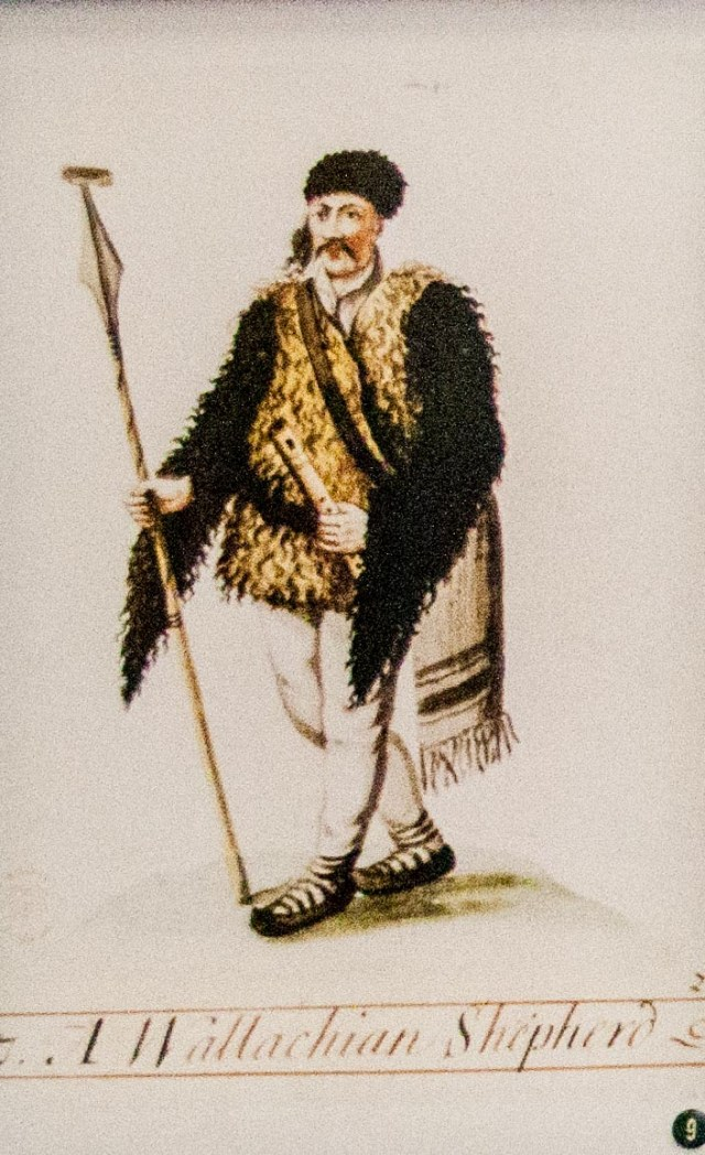 Artist unknown, Costume of a Romanian shepherd, 18th century drawing held in the Hungarian National Museum - photo found in Wiki Commons and attributable to Szilas