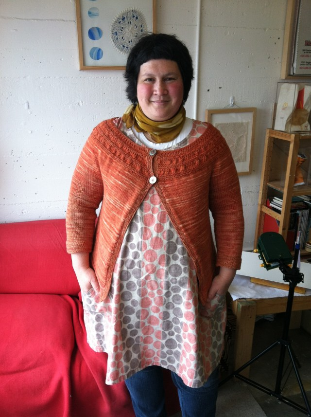Sonya Philip wears Tea Leaves Cardigan by Melissa LaBarre worked in Toasted, a 100% wool merino yarn from A Verb for Keeping Warm