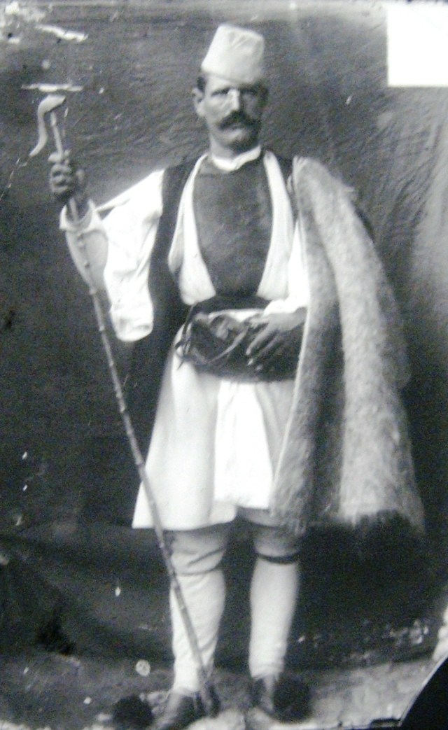 Vlach shepherd in folklore costume. This image was used by a company in the US to advertise cheese. (Avdella, 1899) - photo found in Wiki Commons and marked for the public domain. Source: The State Archives of the Republic of Macedonia (DARM), Bitola Department